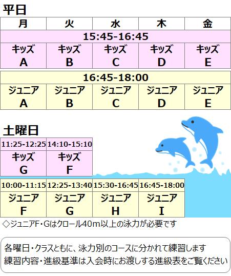 名古屋市のスイミングスクール・水泳教室、総合スポーツ教室スタート スイミングのスケジュールです! 希望する曜日をお選びください。