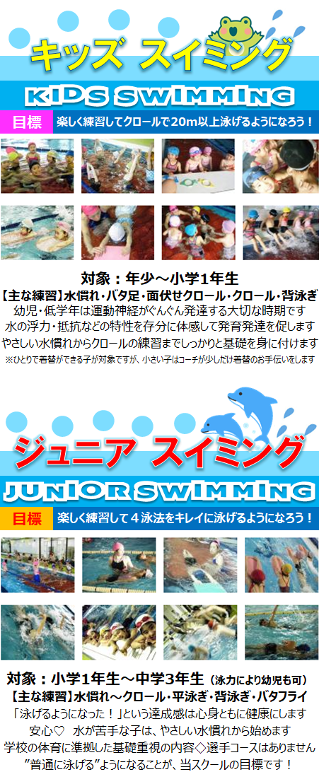 名古屋市の水泳教室 START キッズスイミングはとても人気!健康な体づくりにスイミングはぴったり!お顔付から丁寧に指導します!ジュニアスイミング→楽しく練習して4泳法が泳げるようになろう! クロール・平泳ぎ・背泳ぎ・バタフライ 初心者も安心して受講して頂けます。