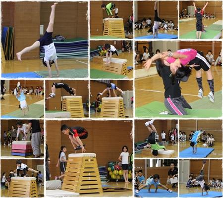 体操教室では跳び箱や鉄棒、マット運動など、いろいろな運動を練習します。
